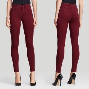 J Brand Crimson Sateen Skinny Jeans